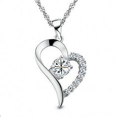 """Charm Rhodium Plated Half with Cubic Zirconia Cz Diamond Accent Sterling Silver Open Heart Pendant Necklace for Women or for Girlfriend with Chain18"""" FERVENT LOVE http://www.amazon.com/dp/B00EP6TJTI/ref=cm_sw_r_pi_dp_u.krwb02BBK1Y"""