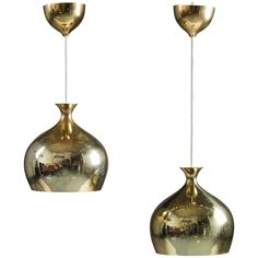 Pair of Rare Pendants in Perforated Brass by Helge Zimdal | 1stdibs.com