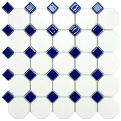 @Overstock - This floor and wall tile has a smooth, glazed finish to help add style to your space. This beautiful tile has a matte white color with a glossy cobalt blue accent to help coordinate with your decor.http://www.overstock.com/Home-Garden/Somertile-11-5-8x11-5-8-inch-Victorian-Octagon-Matte-White-with-Cobalt-Dot-Porcelain-Tile-Case-of-10/6603215/product.html?CID=214117 $73.99