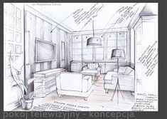 Sketch to the interior project by Magdalena Sobula Learn Interior Design, Interior Design Renderings, Interior Design Courses, Drawing Interior, Interior Design Sketches, Interior Rendering, Sketch Design, Architecture Life, Interior Architecture