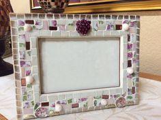 Mosaic Photo Frame - White, Lavender, Gold Vintage China