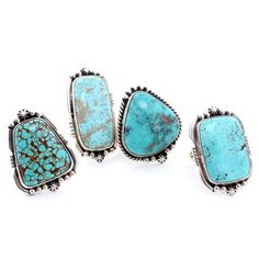"Native American Handcrafted Large ""Campitos Turquoise"" stone Sterling Silver Signed*"