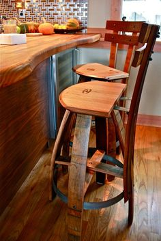 LOVE these wine barrel bar stools!  Chef Brian Wilkes Home Kitchen.  #wine #barrel