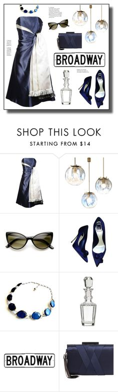 """Blue/White"" by hellodollface ❤ liked on Polyvore featuring Lanvin, ZeroUV, Christian Dior, Sondra Roberts and twotonedress"