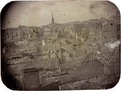 The oldest photo in this collection shows the city in ruins after a fire swept through the city. The fire started on a steamboat on the river, and jumped to 22 other boats, the fire continued to spread onto buildings on the waterfront. Kansas City Missouri, Missouri River, Today In History, St Louis Mo, Asian History, Historical Pictures, History Museum, Vintage Photographs, American History