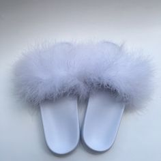 52408726b649c White On White Fur Slides Feeling Fanci Fur Slides Come In Many Colors and  Variations.