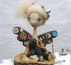 Купить Фейка Швейка Лёлька - коричневый, интерьерная кукла, подарок, рукодельнице, текстильная кукла, ленда