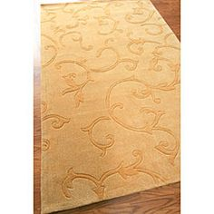Hand-tufted Alexa Pino Collection Scroll Vines Gold Rug (7'6 x 9'6)