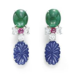 A PAIR OF SAPPHIRE, EMERALD, RUBY AND DIAMOND EAR PENDANTS, BY CARTIER