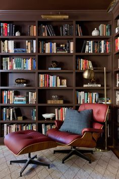 Red Eames chair looking right at home in this authentic home office  CHEVIOT VII | Jenn Feldman Designs Home Library Rooms, Home Library Design, Home Libraries, Office Interior Design, Office Interiors, House Design, Interiors Online, Big Design, Design Offices