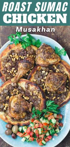 This warm, savory sumac chicken with caramelized onion flatbread will wow your taste buds in the best way possible! Flavor-packed tender roast chicken, served with sweet caramelized onions, flatbread, and pine nuts. #roastchicken #bakedchicken #sumacchicken #mediterraneanfood