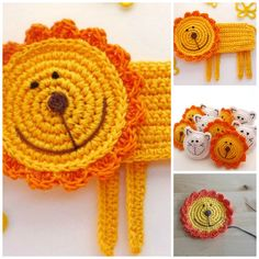 Crochet Lion Pattern Applique or Coaster DIY por MonikaDesign