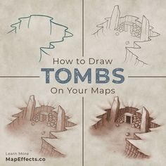 Drawing a tomb on your map is a great way to add intrigue and a sense of history to your world. They are a compelling feature that gets your imagination going and asking questions, which is exactly the reaction you want from a viewer. In this tutorial, you will learn how to easily draw a tomb on your maps. #mapeffects #rpg #fantasy #drawing #tutorial #procreate #worldbuilding Fantasy Map Making, Fantasy World Map, Dungeons And Dragons Races, Dnd World Map, Digital Art Beginner, Map Symbols, Map Sketch, Affinity Photo, Create Drawing
