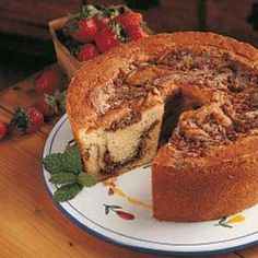 Cinnamon Coffee Cake - I used whole wheat flour, and added cinnamon right into the batter. Didn't have sour cream, so I substituted Greek yogurt and ricotta cheese. Amazing!!! Brunch Recipes, Cake Recipes, Breakfast Recipes, Dessert Recipes, Desserts, Brunch Ideas, Dessert Ideas, Cupcakes, Cupcake Cakes