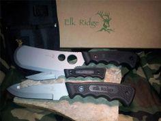 Elk Ridge 3 pc Hunting Knife Set Small Hunter Guthook Cleaver 440 Stainless 018
