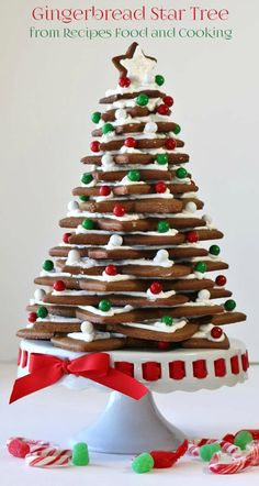 Gingerbread Christmas Star Tree decorated with royal icing, sanding sugar and red, white and green candies.