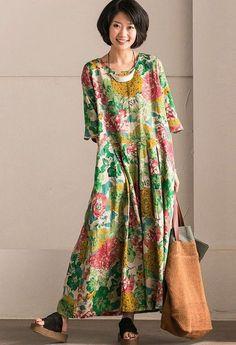 Retro Cotton Linen Flower Long Dress Summer Women Clothes Q302B