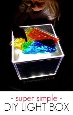 Easiest DIY Light Box Ever - ikea Salas hack. Sensory Activities, Sensory Play, Toddler Activities, Color Activities, Reggio, Diy Light Table, Portable Led Lights, Licht Box, Light Board