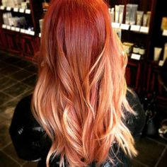 Copper Hair with Golden Blonde Highlights