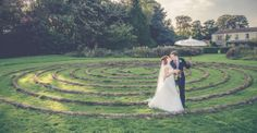 Kingscote House - WEDDINGS - Kate & Tom's - The spiral Maze at Kingscote House in the Cotswolds is a perfect backdrop for wedding pictures