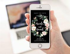 Black Save the Date, Electronic Invite, Roses Invitation, Floral Invite, Editable Template, SMS Wedding Digital Smartphone Templett ETHR