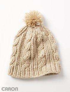 Yarnspirations.com - Caron Cable Twist Hat - Patterns  | Yarnspirations