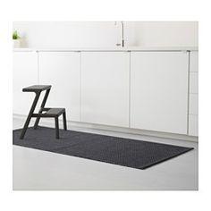 MORUM Matta, slätvävd, mörkgrå inom-/utomhus mörkgrå - IKEA