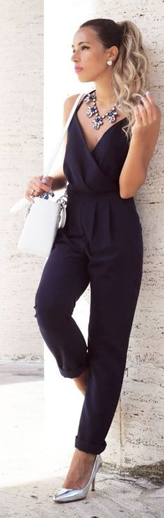 Dahlia Wolf Navy Sexy Strappy Back Jumpsuit For similar items, please visit http://www.fashioncraycray.xyz/