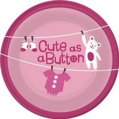 Amazon.com: Cute As a Button- Girl Dessert Plates (8): Health & Personal Care