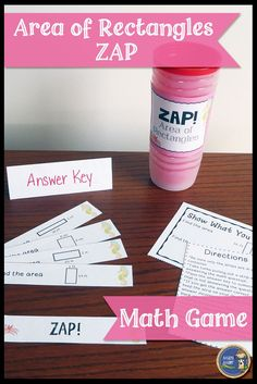 Area of Rectangles ZAP - Engaging math game for your students. Great for math stations or centers. Students will beg you to play again and again. Click to check it out! $ gr 4-6