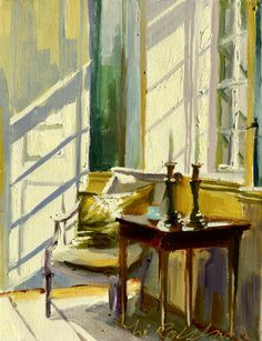 SUNLIT ROOM Art Print of Original Oil Painting by CECILIAROSSLEE, $20.00