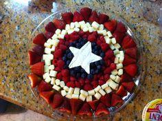 Captain America fruit & cheese tray