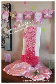Butterfly 1st Birthday Party Gift Table Centerpiece w/Personalized Banner