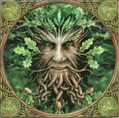 Green Man - A Green Man is a sculpture, drawing, or other representation of a face surrounded by or made from leaves. Branches or vines may sprout from the nose, mouth, nostrils or other parts of the face and these shoots may bear flowers or fruit. Commonly used as a decorative architectural ornament, Green Men are frequently found in carvings on both secular and ecclesiastical buildings.