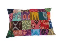 Ikat Pillow, Patchwork, 12x18. $22.50, via Etsy.