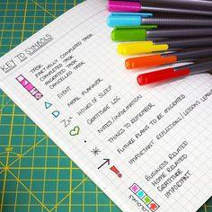 THE KEY TO SUCCESS... No matter how many times you change the design and layout of your bullet journal, the one thing that needs to remain consistent is your symbols key. Find a system of symbols that work for you, then stick with it! Because I use squared paper in my journal, it was a no-brainer to use check boxes rather than bullets. And I just love the satisfaction of colouring that box in when a task is completed! #rainbowbujo #bulletjournal #bulletjournaling #bujo #bujocommunity…