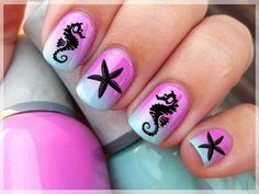 STARFISH and SEAHORSE Nail Art (SFB) TROPICAL - Waterslide Transfer Not Stickers