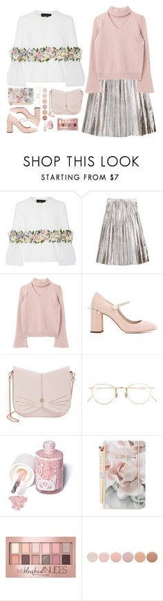 """""""Untitled #1449"""" by timeak ❤ liked on Polyvore featuring Georges Hobeika, Gucci, Miu Miu, Ted Baker, Eyevan 7285, Sugarpill, Maybelline and Deborah Lippmann"""