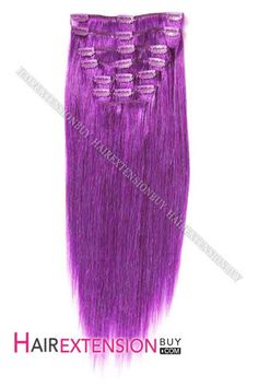 "Clip In Hair Extensions, 15"" Purple Funky Straight Full Head Set Clip In Human Hair Extension [CHS0023] - www.hairextensionbuy.com"