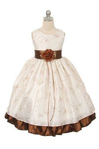 #Halloween - Flower Girl Dress Style 142- Ivory Brown Sleeveless Sparkle Dress
