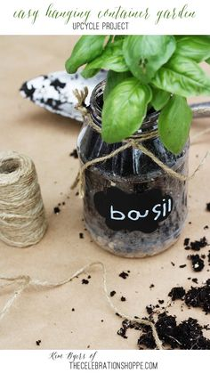 Upcycle: Easy Hanging Container Garden | Kim Byers, TheCelebrationShoppe.com   #smallgarden #herbplanters #brightfuture #ProjectSunlight