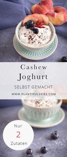 Veganer Cashew Joghurt schnell sebstgemacht aus nur 2 Zutaten! Ohne Joghurtbereiter, ganz einfach in deiner Küche. Rein pflanzlicher Joghurt geht ganz easy !