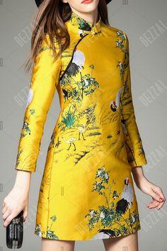 Jacquard Cheongsam Mini Dress