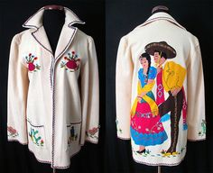 """Killer Rare 1940's Hand Applique Cream Mexican Tourist Jacket made by """"Berty Creations"""" Vintage Western Jacket Mexicana by wearitagain on Etsy https://www.etsy.com/listing/183634289/killer-rare-1940s-hand-applique-cream"""