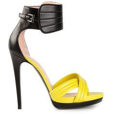 Check out Ankle Cuff Sandal by Barbara Bui Fab Shoes, Dream Shoes, Crazy Shoes, Cute Shoes, Me Too Shoes, Yellow Sandals, Yellow Shoes, Strappy Sandals Heels, High Heels Stilettos