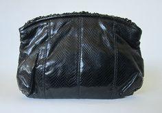 Vintage 1980s Black Faux Snakeskin Ruffled Patent Leather Clutch Purse Handbag