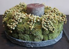 Candle with moss and berries http://kristaverwimp.zenfolio.com/p306798673/h2a6627#h11d2b130