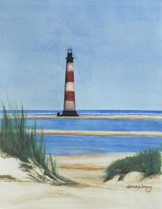 """""""Morris Island Lighthouse"""" a watercolor painting by Anna Penny."""