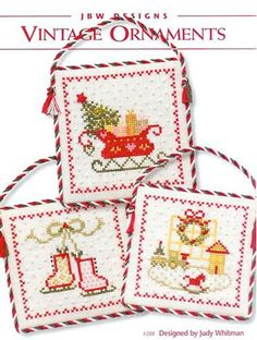 counted cross stitch patterns Vintage Ornaments from JBW Designs at www.thecottageneedle.com