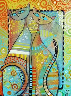 Like the colors in this Gatos painting … Art Fantaisiste, Wal Art, Cat Quilt, Inspiration Art, Cat Colors, Muted Colors, Cat Drawing, Whimsical Art, Oeuvre D'art